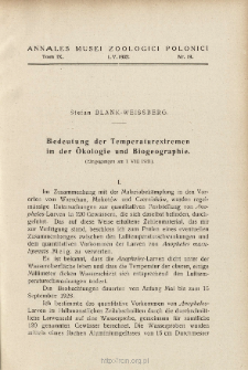 Bedeutung der Temperaturextremen in der Ökologie und Biogeographie : (Eingegangen am 1 VIII 1931)