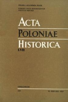 Acta Poloniae Historica. T. 57 (1988), Vie scientifique