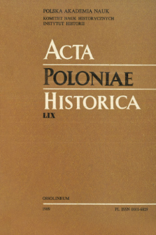 Acta Poloniae Historica. T. 59 (1989), Title pages, Contents