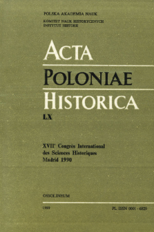 Acta Poloniae Historica. T. 60 (1989), Title pages, Contents