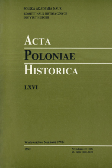 Acta Poloniae Historica. T. 66 (1992), Title pages, Contents