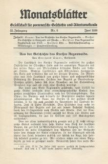 Monatsblätter Jhrg. 52, H. 6 (1938)