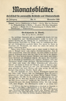 Monatsblätter Jhrg. 52, H. 11 (1938)