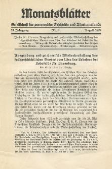Monatsblätter Jhrg. 53, H. 8 (1939)