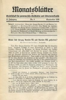 Monatsblätter Jhrg. 53, H. 9 (1939)