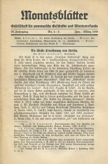 Monatsblätter Jhrg. 54, H. 1-3 (1940)