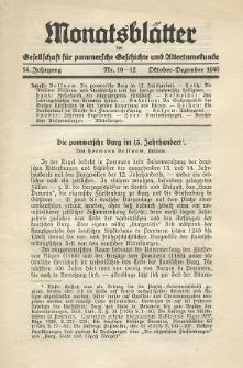 Monatsblätter Jhrg. 54, H. 10-12 (1940)