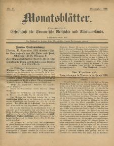 Monatsblätter Jhrg. 33, H. 11 (1919)
