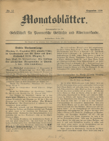 Monatsblätter Jhrg. 33, H. 12 (1919)