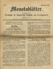 Monatsblätter Jhrg. 35, H. 9 (1921)
