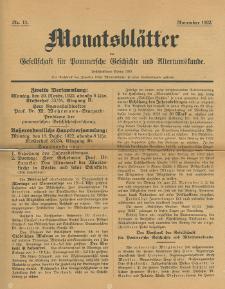 Monatsblätter Jhrg. 36, H. 11 (1922)