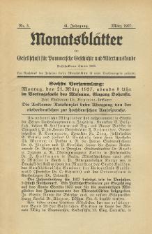 Monatsblätter Jhrg. 41, H. 3 (1927)