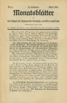 Monatsblätter Jhrg. 41, H. 4 (1927)