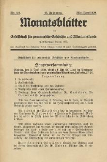 Monatsblätter Jhrg. 43, H. 5/6 (1929)