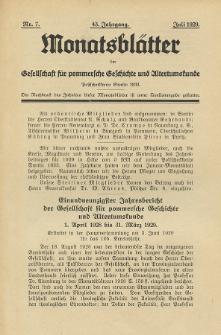 Monatsblätter Jhrg. 43, H. 7 (1929)