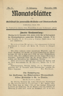 Monatsblätter Jhrg. 43, H. 11 (1929)