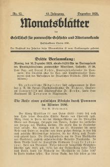 Monatsblätter Jhrg. 43, H. 12 (1929)