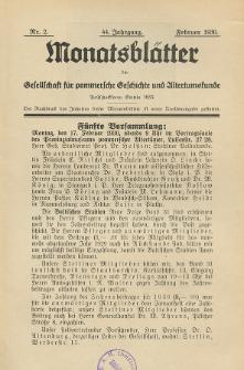 Monatsblätter Jhrg. 44, H. 2 (1930)