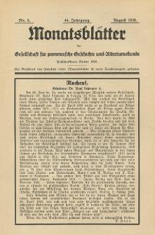 Monatsblätter Jhrg. 44, H. 8 (1930)
