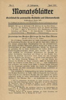 Monatsblätter Jhrg. 47, H. 6 (1933)