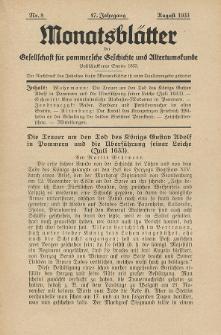 Monatsblätter Jhrg. 47, H. 8 (1933)