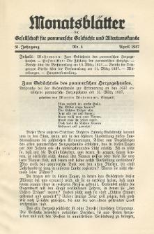 Monatsblätter Jhrg. 51, H. 4 (1937)