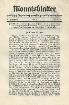 Monatsblätter Jhrg. 51, H. 5 (1937)
