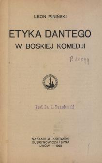 "Etyka Dantego w ""Boskiej komedji"""