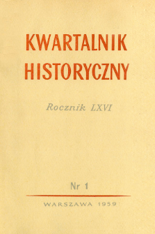 Kwartalnik Historyczny R. 66 nr 1 (1959), Title pages, Contents