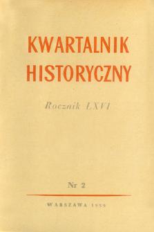 Kwartalnik Historyczny R. 66 nr 2 (1959), Strony tytułowe, Spis treści