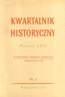 Kwartalnik Historyczny. R. 66 nr 3 (1959), Strony tytułowe, Spis treści