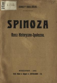 Spinoza : rzecz historyczno-społeczna
