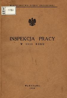 Inspekcja Pracy w 1933 Roku