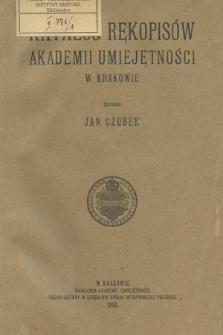 Katalog rękopisów Akademii Umiejętności w Krakowie