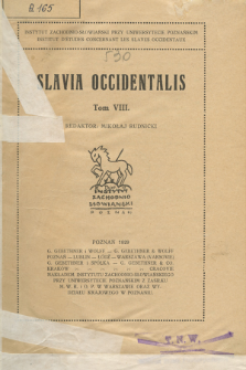 Slavia Occidentalis. T. 8 (1929)