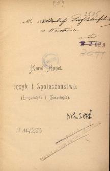 Język i społeczeństwo : (lingwistyka i socyologia)