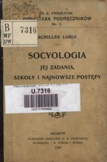 Socyologia - jej zadania, szkoły i najnowsze postępy : wykłady wygłoszone w uniwersytecie w Padwie w r. 1900