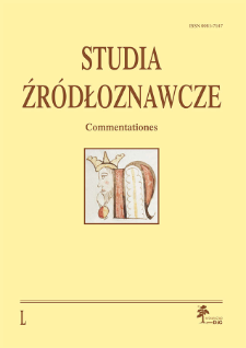 Studia Źródłoznawcze = Commentationes T. 50 (2012), Title pages, Contents