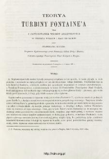 Teorya turbiny Fontaine'a wraz z zastosowaniem wzorów analitycznych do obliczania wymiarów i pracy tej machiny