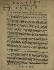 Excerpt Z Mowy Jmci Pana Burke Mianey W Izbie Niższey Angielskiey D. 9. Lutego 1790.