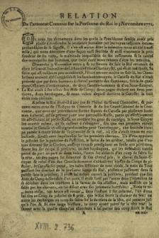 Relation De l'attentat Commis sur la Personne du Roi le 3 Novombre 1771