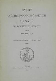 Úvahy o chronologii českých denárů na počátku 11. století