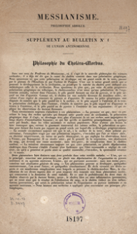 "Messianisme, [Union finale de la philosophie et de la religion, constituant la] philosophie absolute : ""Supplement au Bulletin nr 1 de l'Union antinomienne"" : Philosophie du Choléra Morbus"