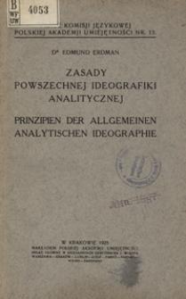Zasady powszechnej ideografiki analitycznej = Prinzipien der Allgemeine Analytischen Ideographie