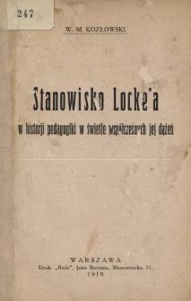 Stanowisko Locke'a w historii pedagogiki w świetle współczesnych jej dążeń
