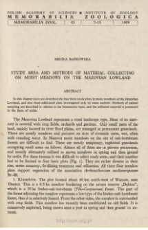Study area and methods of material collecting on moist meadows on the Mazovian Lowland