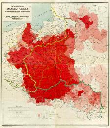 Mapa rozsiedlenia ludności polskiej w granicach etnograficznych i na najbliższych kresach = Carte de la répartition de la population polonaise dans ses limites ethnographiques et sur les confins