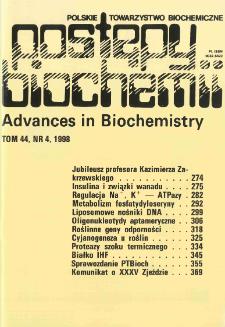 Postępy biochemii, Tom 44, Nr 4
