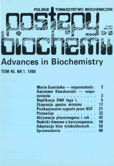 Postępy biochemii, Tom 45, Nr 1