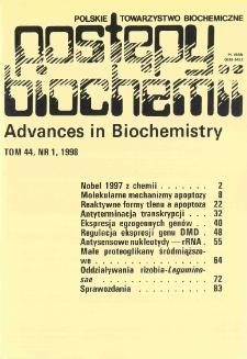 Postępy biochemii, Tom 44, Nr 1
